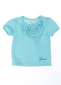 T-shirt manches courtes bleu GUESS pour fille