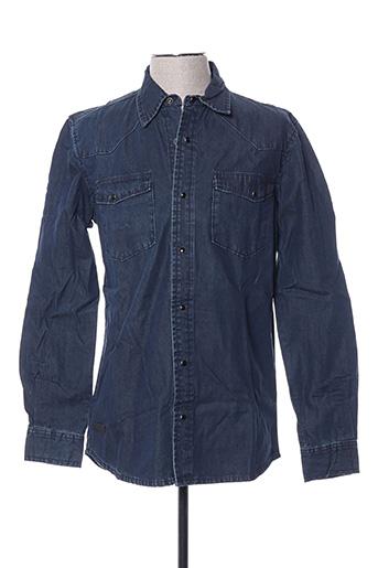 Chemise manches longues bleu BIAGGIO pour homme