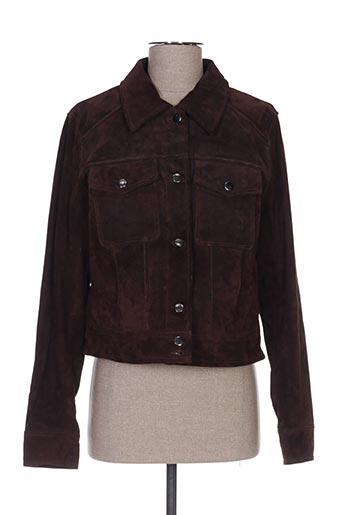 Veste en cuir marron VILA pour femme
