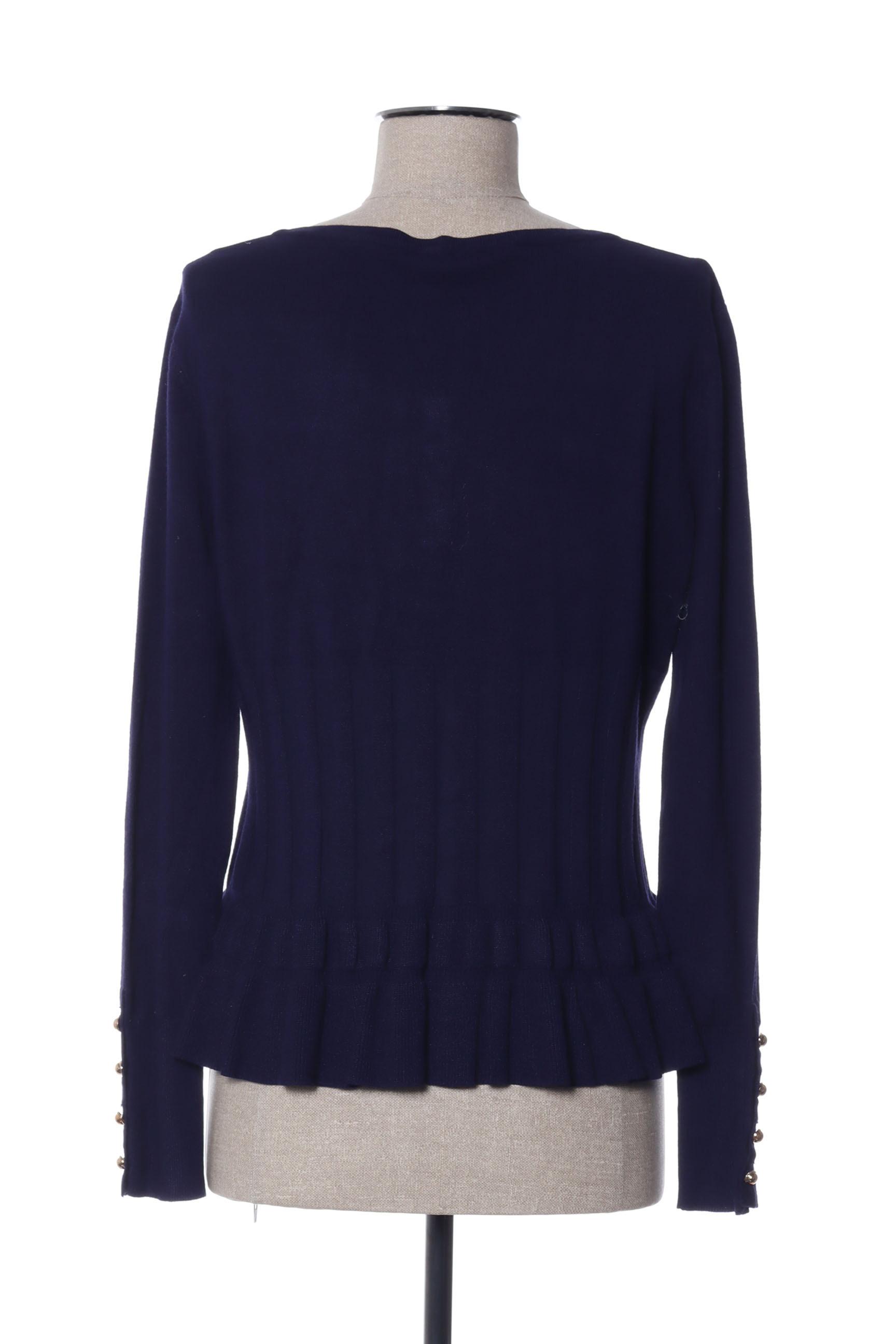 Grege Creation Cardigans Femme De Couleur Bleu En Soldes Pas Cher 1425148-bleu00