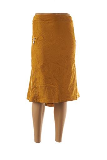 Jupe mi-longue jaune ACBELLE pour femme