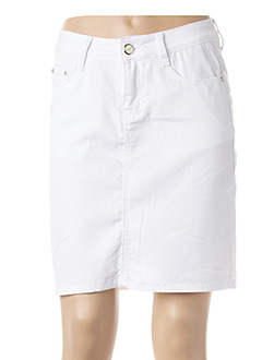 Jupe courte blanc B.S JEANS pour femme