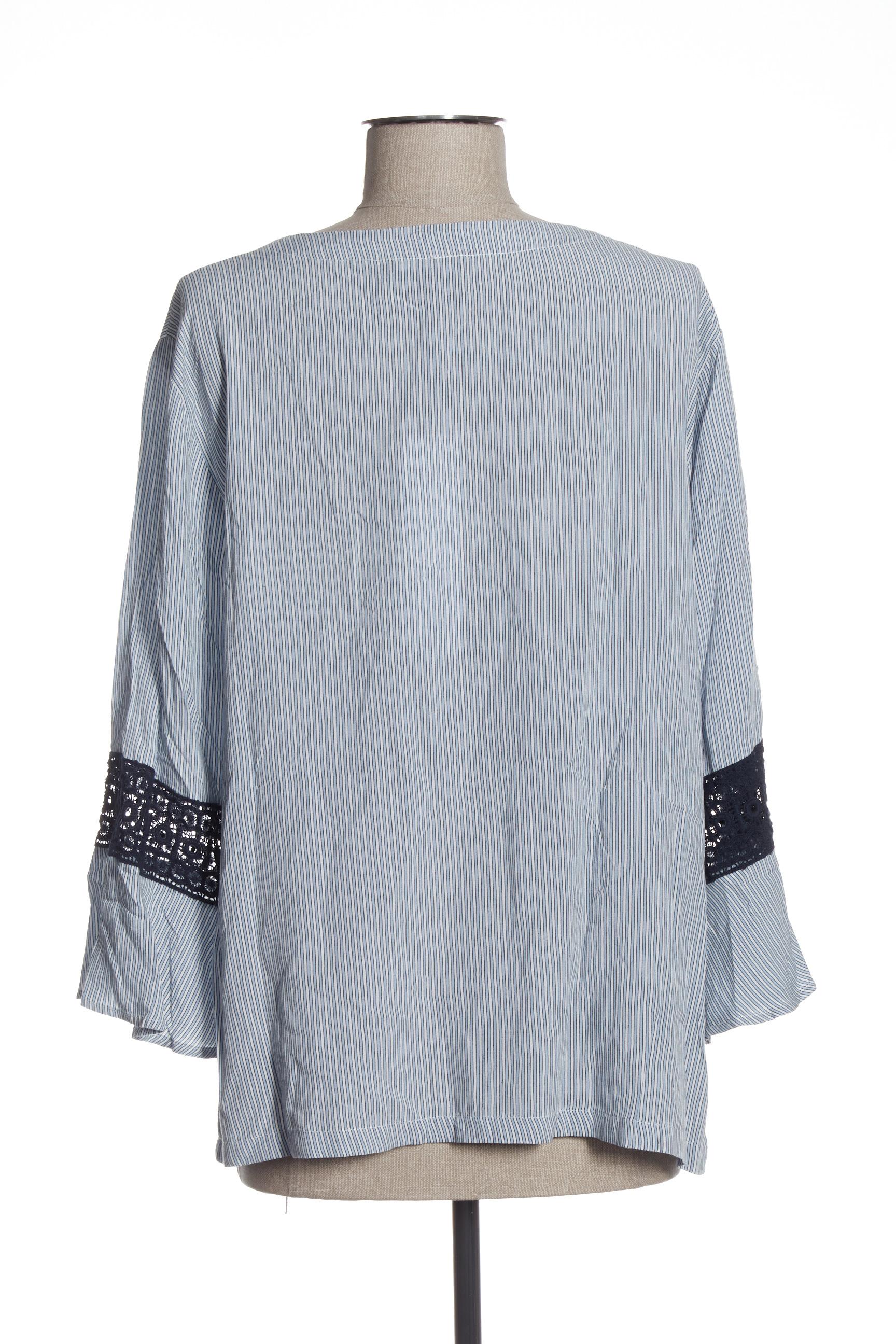 Brandtex Blouses Femme De Couleur Bleu En Soldes Pas Cher 1435090-bleu00