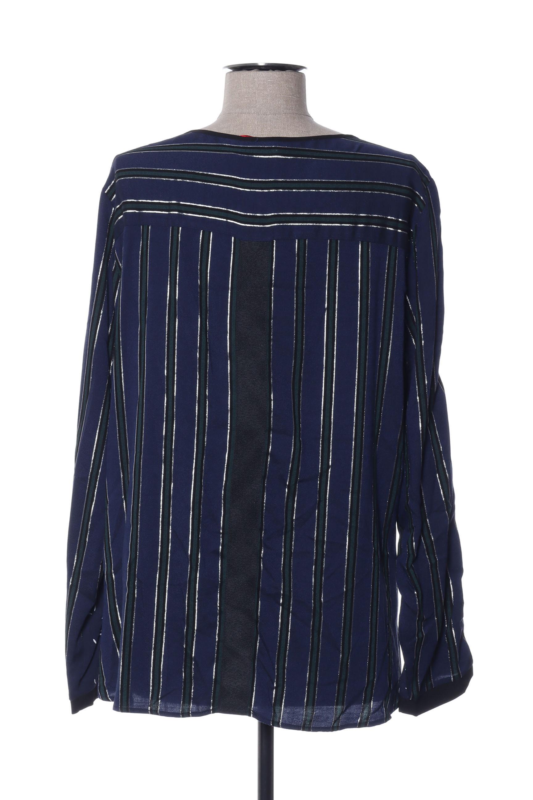 I Code By Ikks Chemisiers Manches Longues Femme De Couleur Bleu En Soldes Pas Cher 1432417-bleu00