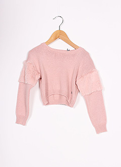 Pull col rond rose 3 POMMES pour fille