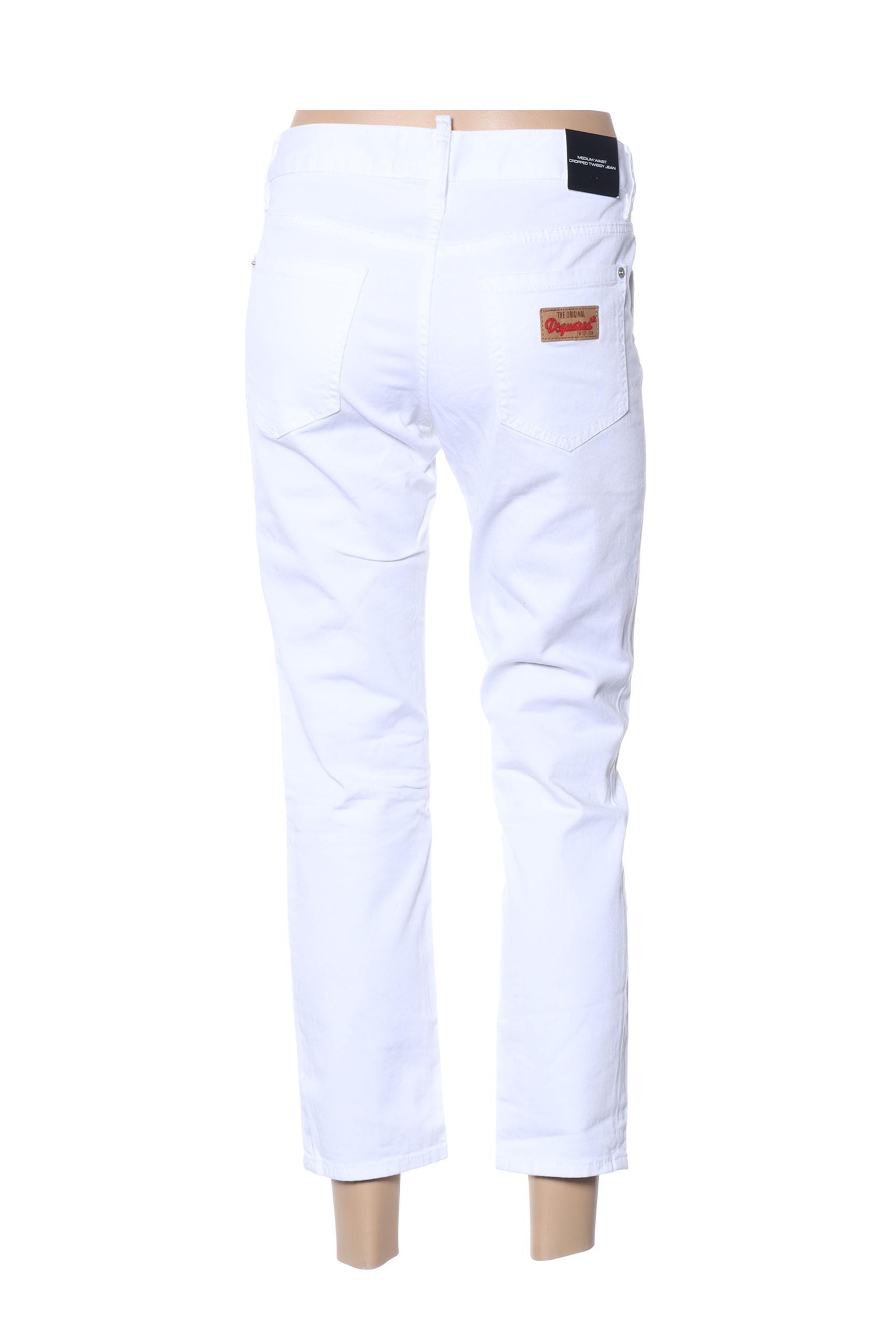 Dsquared Pantalons Decontractes Femme De Couleur Blanc En Soldes Pas Cher 1431979-blanc0