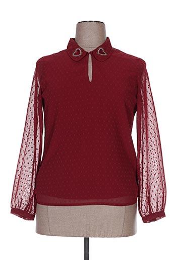 I.CODE (By IKKS) Chemises Blouses manches longues de couleur rouge en soldes pas cher 1428931 rouge0 Modz