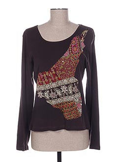 T-shirt manches longues marron FELINO pour femme