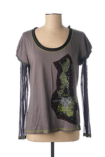 T-shirt manches longues gris DECA pour femme