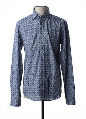Chemise manches longues bleu FIL NOIR pour homme