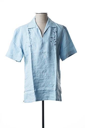 Chemise manches courtes bleu FLORENTINO pour homme