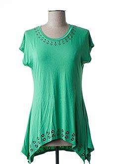 T-shirt manches courtes vert MARBLE pour femme