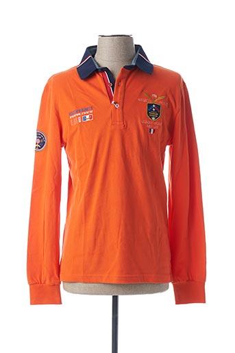 Polo manches longues orange ARISTOW pour homme