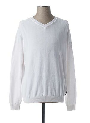 Pull col V blanc CODE ZERO pour homme