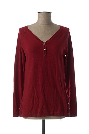 Pull col V rouge EL INTERNATIONALE pour femme