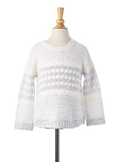 Pull col rond blanc MAYORAL pour fille