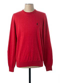 Pull col rond rouge MCS pour homme