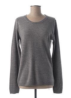 Pull col rond gris CASHMERE FEELING pour femme