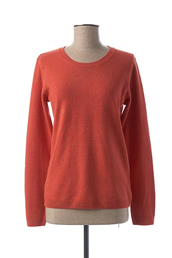 Pull col rond orange CASHMERE FEELING pour femme