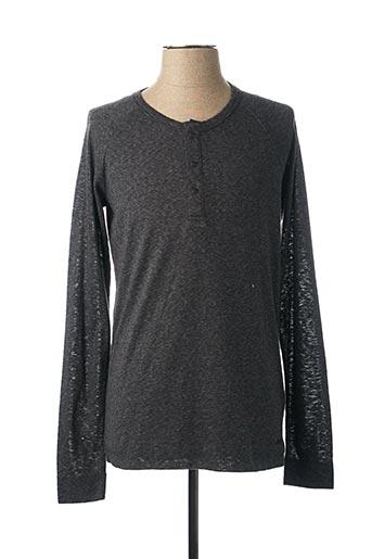 T-shirt manches longues gris HUGO BOSS pour homme