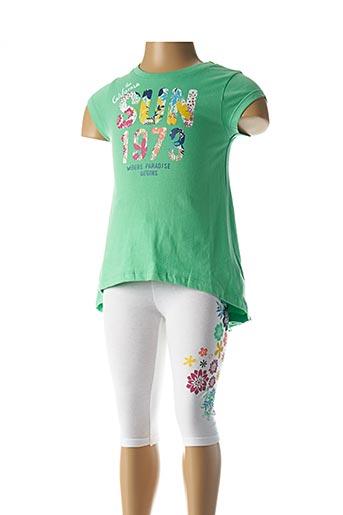 Top/pantalon vert 3 POMMES pour fille