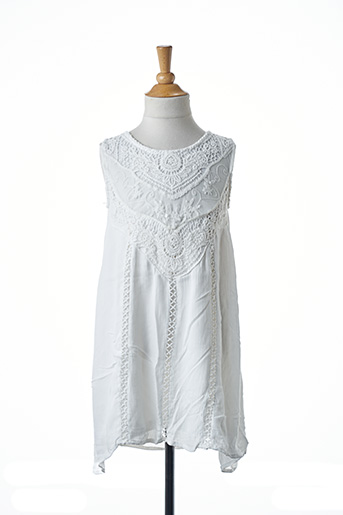 Robe mi-longue blanc MINI MIGNON pour fille