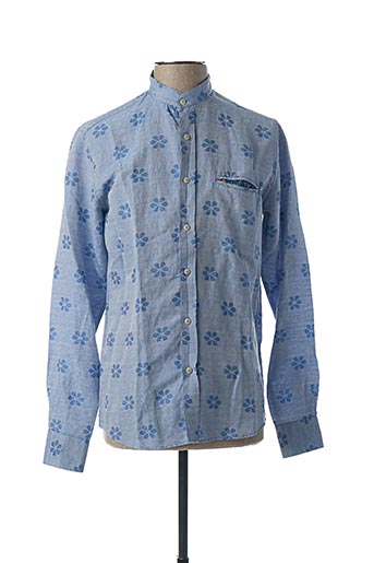 Chemise manches longues bleu RECYCLED ART WORLD pour homme