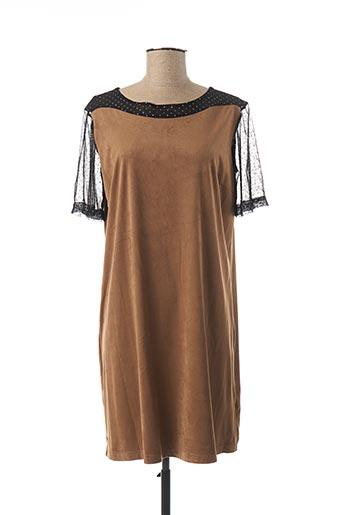 Robe courte marron AKELA KEY pour femme