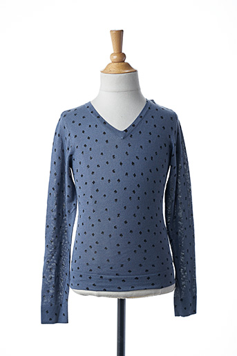 Pull col V bleu TEDDY SMITH pour fille