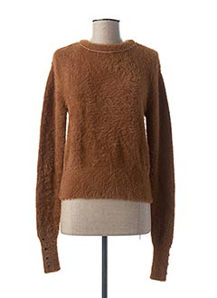 Pull col rond marron TEDDY SMITH pour femme