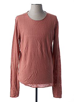 Pull col rond rouge TEDDY SMITH pour homme