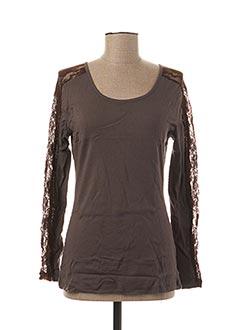 T-shirt manches longues gris L33 pour femme