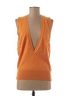 Pull col V orange STEFAN GREEN pour femme