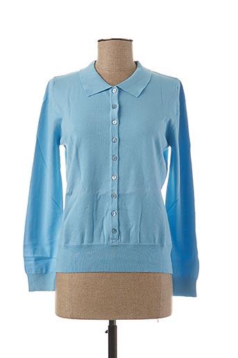 Pull col chemisier bleu STEFAN GREEN pour femme
