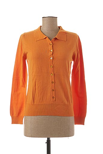 Pull col chemisier orange STEFAN GREEN pour femme
