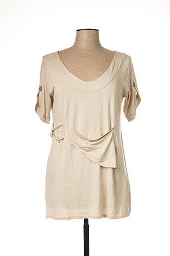 T-shirt manches courtes beige CATY LESCA pour femme