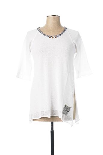 Pull tunique blanc CATY LESCA pour femme