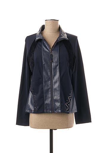 Veste simili cuir bleu LESLIE pour femme