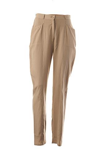 Pantalon casual beige FRANCOIS FAVEL pour femme