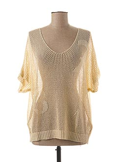 Pull col V beige ANDAMIO pour femme
