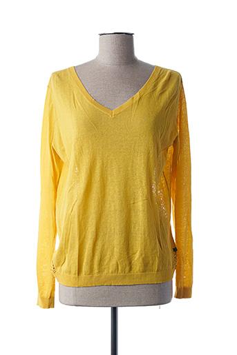 Pull col V jaune I.CODE (By IKKS) pour femme