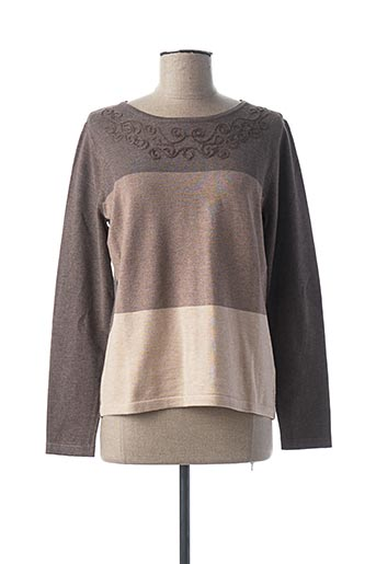 Pull col rond beige GEVANA pour femme