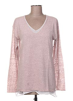 Pull col V rose LA FEE MARABOUTEE pour femme