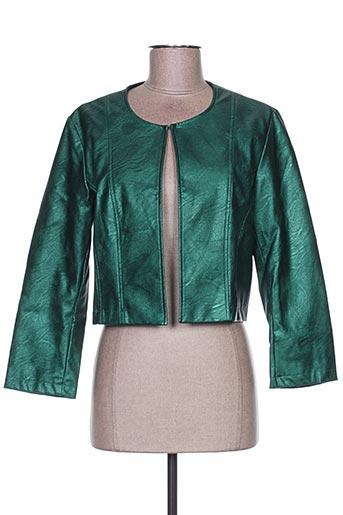 Veste simili cuir vert LA FEE MARABOUTEE pour femme