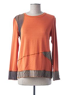 T-shirt manches longues orange FRANCE RIVOIRE pour femme