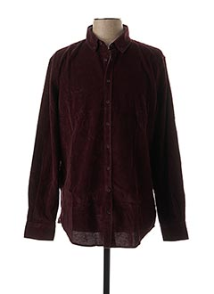 Chemise manches longues rouge IZAC pour homme