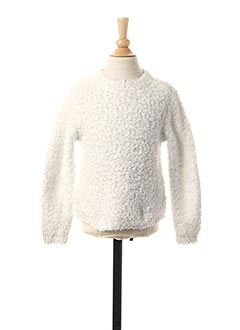 Pull col rond blanc LOSAN pour fille