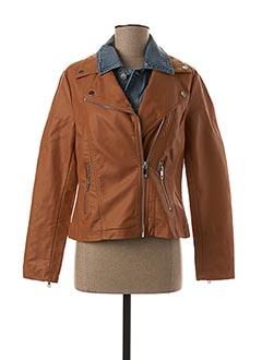 Veste simili cuir marron ESCANDELLE pour femme