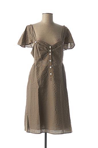 Robe mi-longue marron HEL-S pour femme