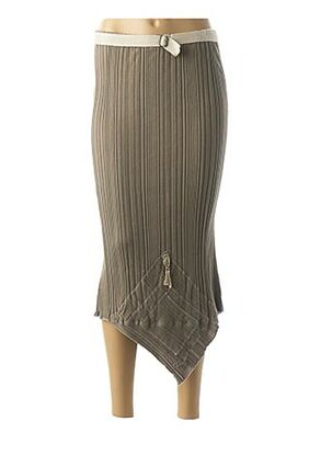 Jupe mi-longue marron CATY LESCA pour femme